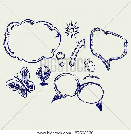 Hand drawn vector speech bubbles