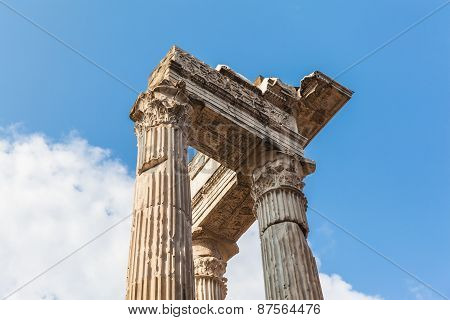 Pillars Of Ancient Ruins In Rome