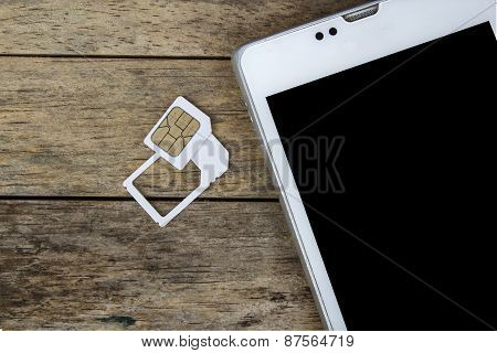 Smart Phone Use With Micro Sim Card By Adapter And Normal Sim Card, Black Screen