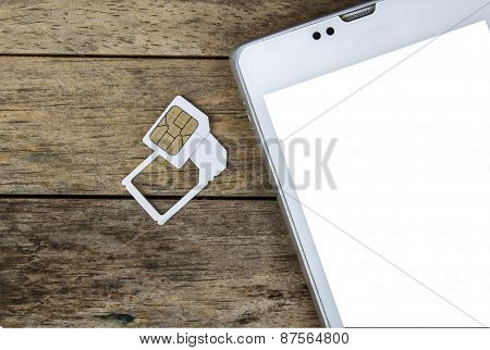 Smart Phone Use With Micro Sim Card By Adapter And Normal Sim Card, White Screen