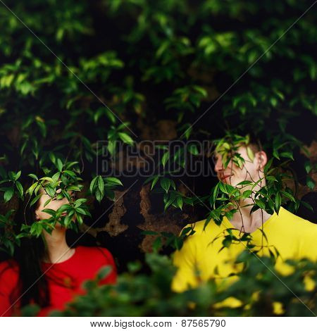Loving Couple In The Garden Of The Vatican Museum In Rome Italy Among Bushes