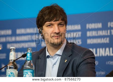 BERLIN, GERMANY - FEBRUARY 10: Sergey Antonov attends the 'Under Electric Clouds' press conference during the 65th Berlinale International Film Festival at  Hyatt Hotel on February 10, 2015