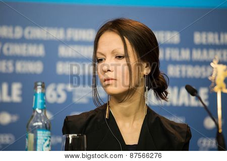 BERLIN, GERMANY - FEBRUARY 10:  Elena Okopnaya attends the 'Under Electric Clouds' press conference during the 65th Berlinale International Film Festival at  Hyatt Hotel on February 10, 2015