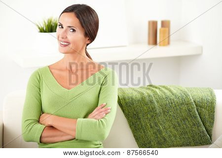 Woman With Toothy Smile Looking At Camera
