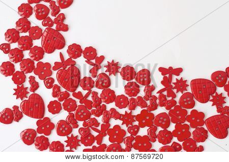 Red Buttons on Blue Background