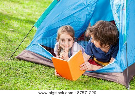 Portrait of happy girl with brother reading book in tent at park