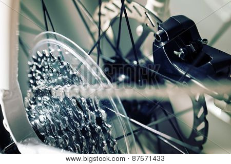 Bicycle gears cassette and chain on mountain bike
