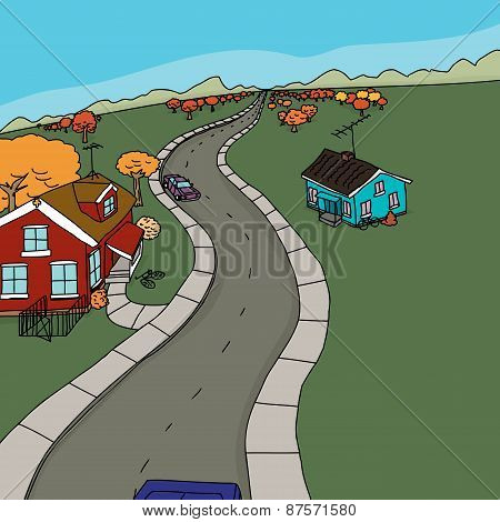 Cars And Houses On Country Road
