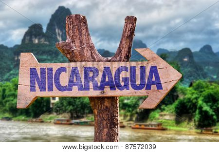 Nicaragua wooden sign with nature landscape
