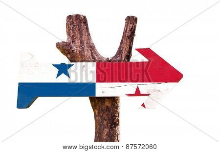 Panama Flag wooden sign isolated on white background
