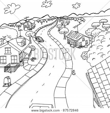 Outline Cartoon Of Homes In Rural Scene