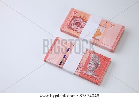 stack of the Malaysia ringgit ten dollar