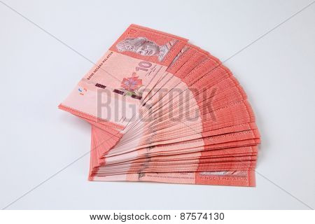stack of the Malaysia ringgit ten dollar form a fan