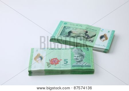 stack of the Malaysia ringgit five dollar