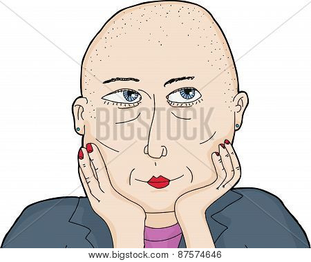 Isolated Wondering Woman With Shaved Head