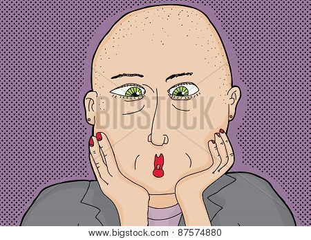 Bald Lady With Green Eyes