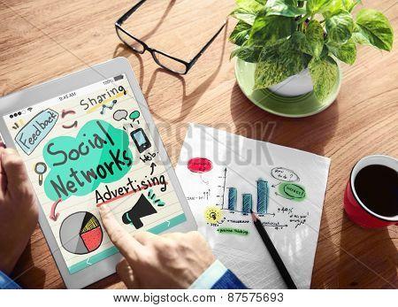 Digital Online Social Network Adertising Marketing Working Concept