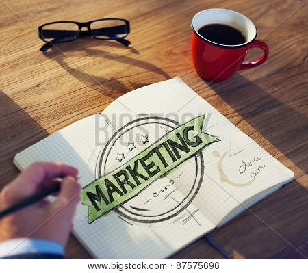 Office Table with Marketing Concept