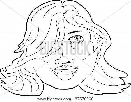 Outline Of Smiling Latina Adult