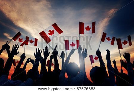 Silhouettes of People Holding Flag of Canada