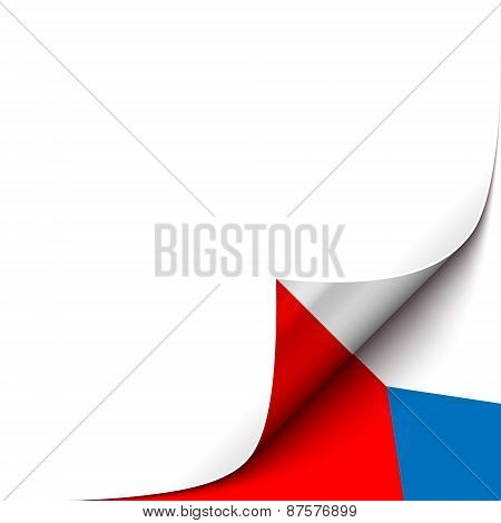 Curled up Paper Corner on Czech Flag Background. Vector Illustration