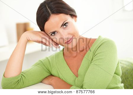 Young Beautiful Woman Looking At Camera