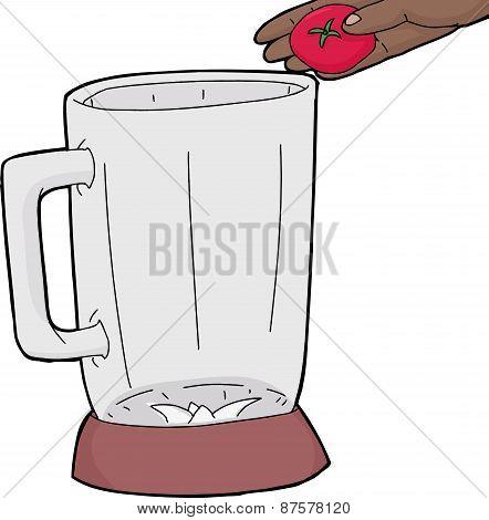 Hand Holding Tomato Over Blender