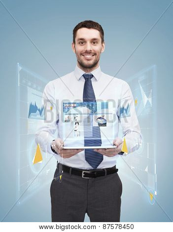 business, technology, internet and education concept - friendly young smiling businesswoman with tablet computer showing news