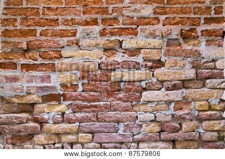 Bricks On A Wall In Venice