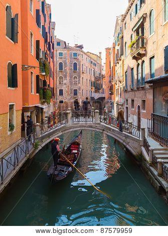 Streets Of Venice And Gondolas