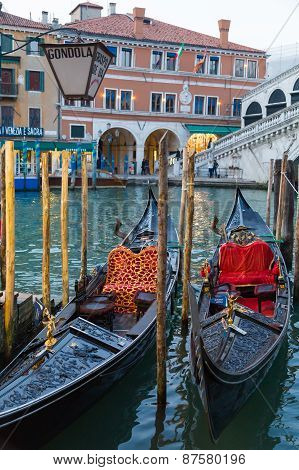 Gondolas Docked Along The Grand Canal