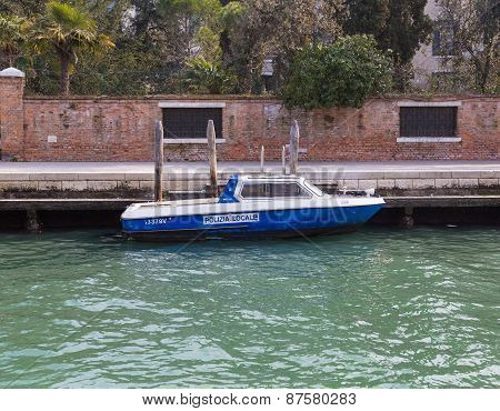 Local Police Boat In Venice