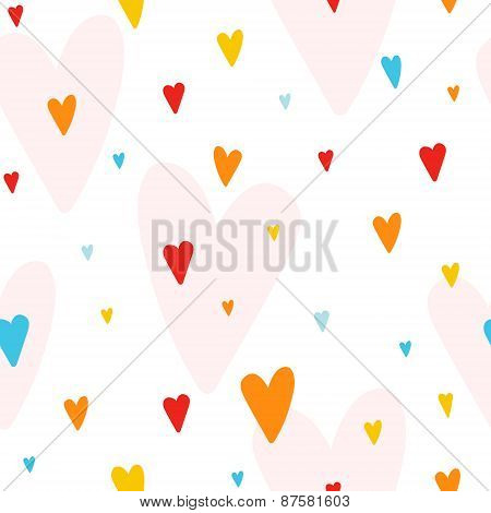 Vector Seamless Pattern With Colorful Hearts, Good For Wedding Invitations And Valentines Day Cards