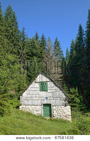 picturesque mountain hut in Durmitor National Park, Montenegro