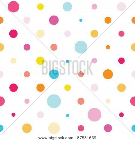 Vector Seamless Spotted Pattern. Good For Children's Stuff, Wrapping Paper, Scrapbooking