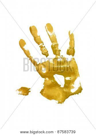 Yellow handprint on white background