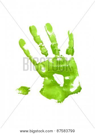 Green handprint on white background