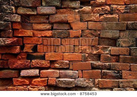 Brown color Old brick wall