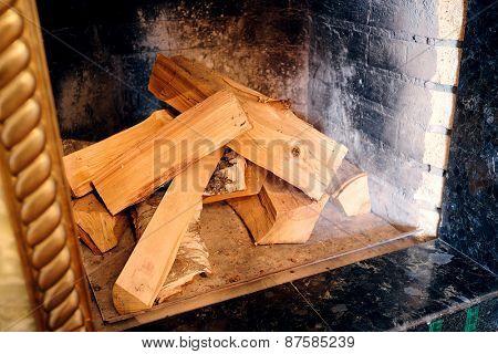 Closeup fireplace with wood