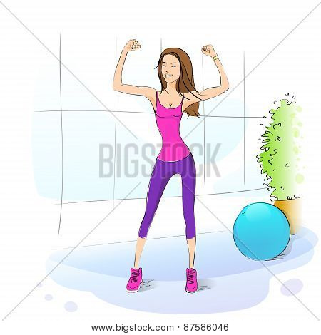 Sport woman fitness girl exercise workout trainer, vector