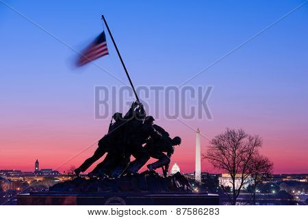 WASHINGTON, DC - APRIL 5, 2015: Marine Corps War Memorial at dawn. The memorial features the statues of servicemen who raised the second U.S. flag on Iwo Jima in World War II.