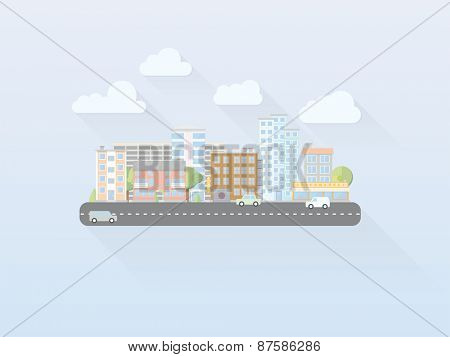 Flat Design Simple Pastel Colored Cityscape Vector. Simple illustration of cityscape with main street, flat design, long shadow