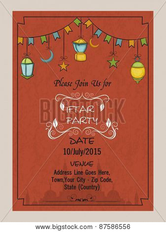 Holy month of Muslim community, Ramadan Kareem Iftar party celebration invitation card with Arabic colorful lamps or Islamic mosque.