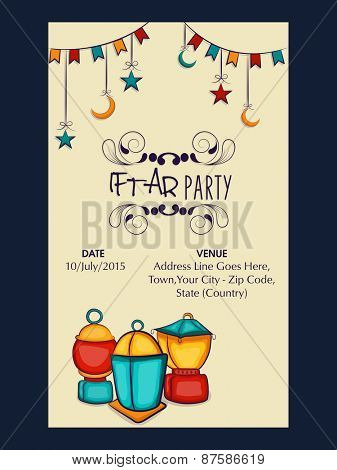 Holy month of Muslim community, Ramadan Kareem Iftar party celebration invitation card with beautiful decoration, date, time and place details.