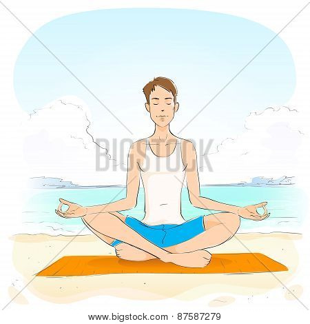 man sitting in yoga lotus position closed eyes relaxing doing exercises