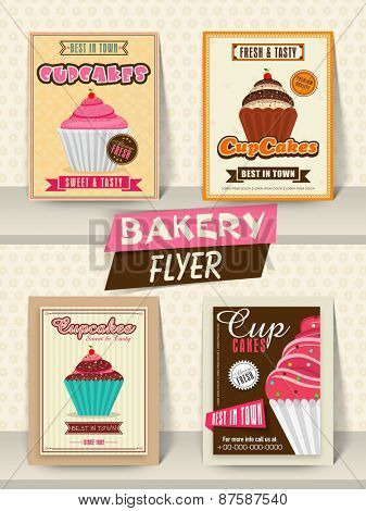 Collection of Bakery flyer, banner or menu card design for your restaurant.