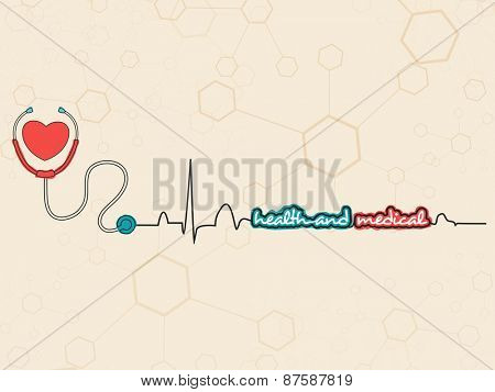 Poster, banner or flyer design with heart and stethoscope on molecules background for Health and Medical concept.