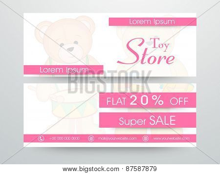 Toy store website header or banner set with discount offer.