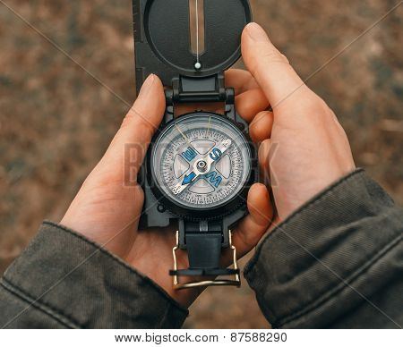 Traveler With A Compass