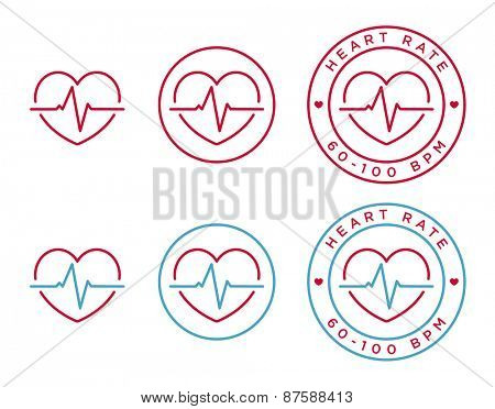 Vector heart rate icons in linear style